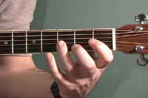 Uncle Tim shows exact finger position in a guitar scale run